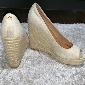 Beige coach wedges